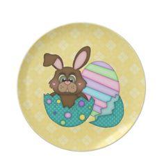 Cartoon Easter Holiday Bunny Plate