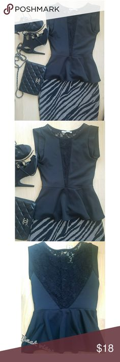 Black Peplum Top. New with tag! black peplum top with lace accent. Tops Blouses