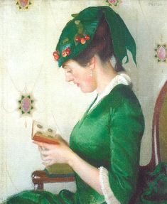 ✉ Biblio Beauties ✉ paintings of women reading letters & books - William McGregor Paxton | The album, 1913