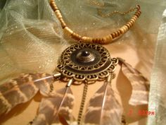 Dream catcher necklace brown in shades of brown,bronze and black enamel OOAKHandmade Jewelry by LadyBluesBaubles on Etsy