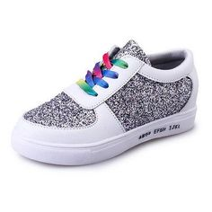 Thboxs Women Sequin Flats Slip On Sneakers Shoes Footwear White US Size 8