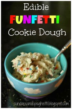 Edible Funfetti Cookie Dough - A Sprinkle of Joy Edible Funfetti Cookie Dough. This is dough is egg less and meant to be eaten without being baked. Could even be used as a spread for fruit, graham crackers, or other sweet things. Cookie Dough For One, Cookie Dough Recipes, Edible Cookie Dough, Chocolate Chip Cookie Dough, Cookie Recipes Without Eggs, Cookies Without Eggs, Sugar Cookie Dough, Cake Batter Cookies, Funfetti Cookies