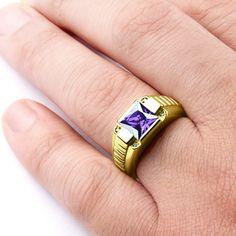 Taille 8 ( Violet ) Améthyste 10K or Blanc rempli Hommes Femmes Fashion Anneau Mariage