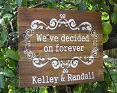 This is how OUR STORY begins Custom WEDDING Sign on Repurposed Rustic Wood 16 x 19. $59.95, via Etsy.