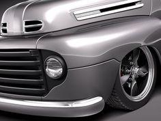 Hot Rod Pickup, Pickup Car, Old Pickup Trucks, Hot Rod Trucks, 1950 Ford Pickup, 1948 Ford Truck, Chevy Motors, Car Hood Ornaments, Rims For Cars