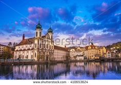 Lucerne, Switzerland - April 14, 2016 : Lucerne's Jesuit Church is the first large baroque architecture in Switzerland. - stock photo