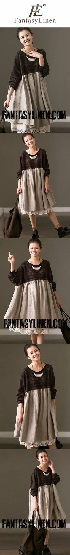 FantasyLinen Kintwear Plus Size Loose Cotton Dress, Women Linen Casual Dress Q6967B