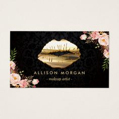 #makeup #artist #beautician #salon #business #card #promoted #lipstick #floral #gold