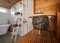 Sauna in the bathroom – I´m in for that Building A Sauna, Sauna Design, Sauna Room, Saunas, Just Relax, Hot Tubs, Extra Seating, Clawfoot Bathtub, Garden Furniture