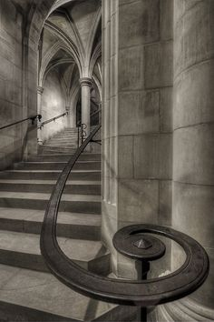It's an up-the-staircase climb, but wait til you see the view from the top--- Washington National Cathedral - of wrought iron handrail with stairs and vaulting Gothic Architecture, Beautiful Architecture, Beautiful Buildings, Architecture Details, Famous Architecture, Historical Architecture, Washington National Cathedral, Escalier Design, Take The Stairs