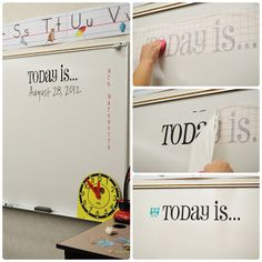"""Vinyl on the white board! Awesome time saver and so neat and cute. Would make a really neat teacher's gift. You could make ones like """"Word of the Day"""" """"Math Problem of the Day"""" etc."""
