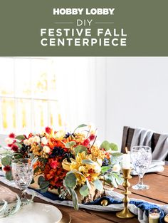 Prepare your dining table for the season with a DIY centerpiece filled with festive accents like floral sprays and golden pears.