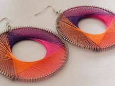 Teen Jewelry , Round Pinky Rainbow Silk Thread Earrings - Peruvian, Yellow, Orange, Teal, Purple, Pink. $4.20, via Etsy.