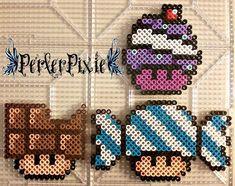 Sweet Mushrooms (cake, chocolate and candy) perler beads by PerlerPixie