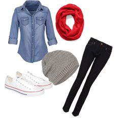 A fashion look from December 2012 featuring Levi's jeans, Topshop hats and Coach scarves. Browse and shop related looks.
