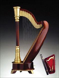 Classic Harp Instrument Miniature Replica Box Plays Tune of the Night