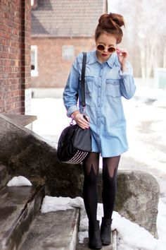 Denim, tights, bag, ready - House of Holland mock spike tights - Mary-Kate Fashion