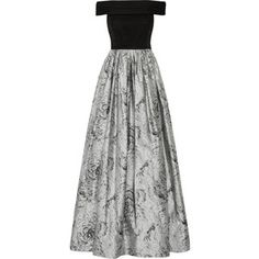 Alice + Olivia Meredith off-the-shoulder ruched silk-chiffon and jacquard gown