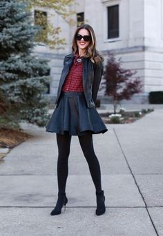 black leather skirt black tights black ankle boots red plaid gingham flannel button down shirt black leather jacket statement necklace (via What I Wore) Fall Fashion Outfits, Fall Winter Outfits, Autumn Winter Fashion, Womens Fashion, Petite Fashion, Fashion 2017, Ladies Fashion, Skirt Fashion, Fashion Ideas
