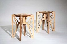 6 stools by French artist Adrien De Melo who is having his premiere exhibition this fall at Valerie Goodman Gallery. Organic constructions in birch. based on the architectural principal of the St Andrew cross. Simple and accessible Available Cardboard Furniture, Diy Cardboard, Patio Chair Cushions, Patio Chairs, Office Chairs, French Furniture, Cool Furniture, Furniture Plans, Luxury Furniture