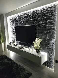 55 amazing wall design ideas living room design home design - Acrylic Painting Home Living Room, Living Room Decor, Apartment Living, Living Room Grey, Tv Wall Ideas Living Room, Kitchen Living Rooms, Living Toom Ideas, Small Living Room Ideas With Tv, Feature Wall Living Room
