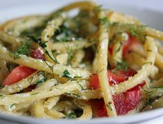 Bucatini Tossed with Brown butter Sauce, Ricotta, Fresh Basil & Tomatoes, and Dill by f-word.tumblr.com photo by a * b. #Pasta #Tomatoes #Brown_Butter #f_word_tumblr