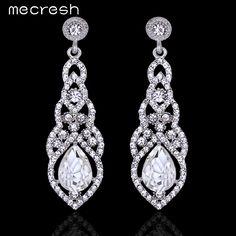 Mecresh Teardrop Crystal Wedding Long Earrings Silver Plated Elegant Bridal Wedding Engagement Jewelry Accessories EH444