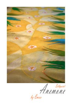 Green tulips on a yellow field - silk scarf made by Masni Mesi