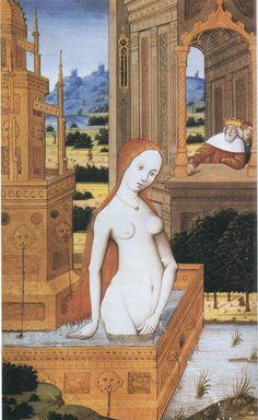 Robert Boyvin, Bethsabee au bain, extrait d'un livre d'heures, XVème siècle