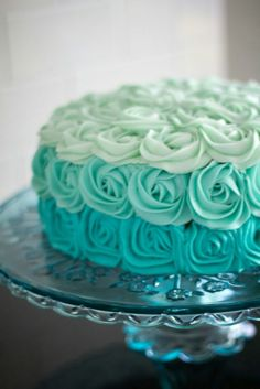 Teal Rose Frosted Ombre Cake #weddings