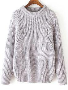 Round Neck Loose Grey Sweater