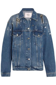 MSGM - Oversized Embellished Denim Jacket - Mid denim - IT40
