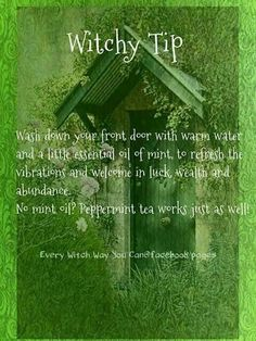 (Just in case you can't read the text on this image) Wash down your front door with warm water and a little essential oil of mint, to refresh the vibrations and welcome in luck, wealth and abundance. No mint oil? Peppermint tea works just as well! Wiccan Spells, Magic Spells, Magick, Luck Spells, Gypsy Spells, Healing Spells, Green Witchcraft, Candle Spells, Candle Magic