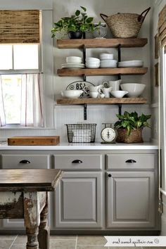 Inspiring Rustic Country Kitchen Ideas To Renew Your Ordinary Kitchen 09 38 Dreamiest Farmhouse Kitchen Decor and Design Ideas to Fuel Your Remodel Farmhouse Kitchen Cabinets, Farmhouse Style Kitchen, Modern Farmhouse Kitchens, Kitchen Cabinet Design, Home Decor Kitchen, Gray Kitchens, Kitchen Hardware, Farm Style Kitchens, Kitchen Interior