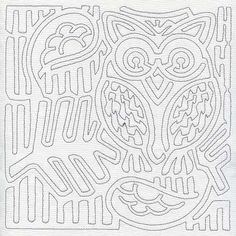 Image detail for -... at Embroidery Library! - Mola Retro Owl Quilting Square (Single Run