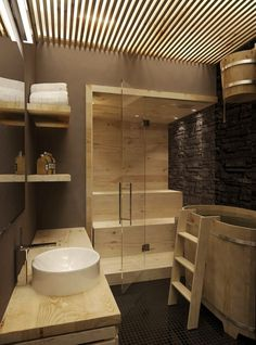 Steam rooms or Home Saunas. The perfect way to relax. 10 Amazing Home sauna or steam room Ideas and Designs for indoor and outdoor relaxation at home. Scandinavian Bathroom Design Ideas, Modern Bathroom Design, Modern House Design, Modern Sink, Scandinavian Modern, Wooden Bathroom, Bathroom Spa, Bathtub Shower, Bathroom Ideas