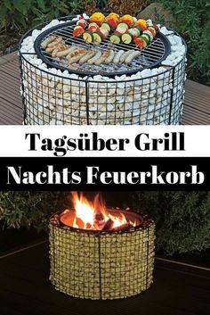 Feuerkorb - Practical and warming at the same time – with this fire basket yo. - Feuerkorb – Practical and warming at the same time – with this fire basket you can look forwar - Fire Pit Grill, Diy Fire Pit, Fire Pit Backyard, Outdoor Fire, Outdoor Decor, Outdoor Grill, Diy Terrasse, Fire Basket, Diy Patio