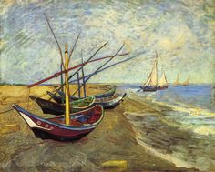 "Vincent van Gogh (1853-1890) ~ ""Fishing Boats"" ~ Oil on Canvas 1888 ~ Van Gogh Museum Amsterdam"