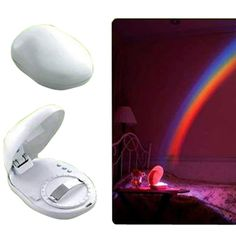 LED rainbow projector nightlight - Ten Buck Gifts:   Is a child you know (possibly you) afraid of the dark?  Why use a boring ol' nightlight when you can brighten up the room with this cool rainbow projection?