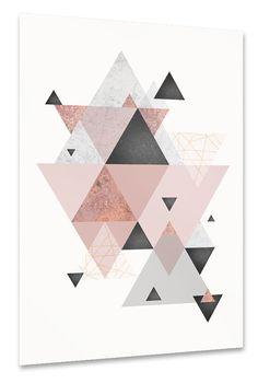 Geometric Design in Blush, Gray, Black and Rose Gold on a white background