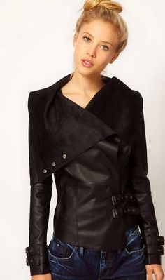 Women Fitted Turn Down Short PU Jacket - Lalalilo.com Shopping - The Best  Deals b554c3ad7ae