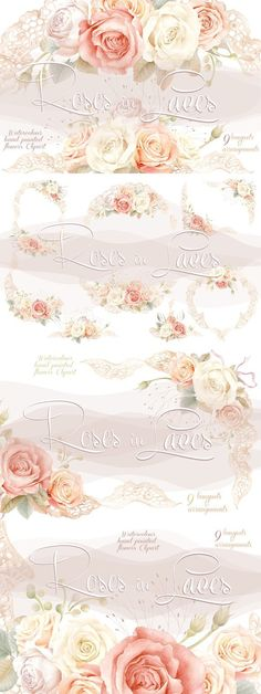 Watercolour Roses in Laces. Wedding Card Templates