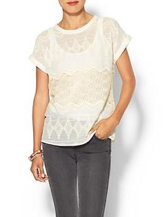 Piperlime Collection Embroidered Cuffed Woven Tee | Piperlime