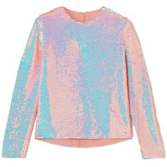 Ashish Sequined silk-georgette top ($1,355) ❤ liked on Polyvore featuring tops, blush, holographic top, pastel tops, ashish, pastel pink top and pink sequin top