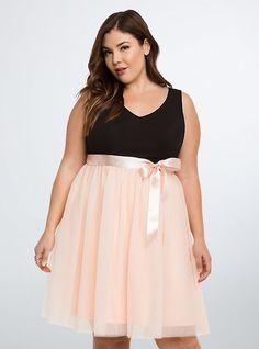 Tulle Skirt Skater Dress in Pale Blush | Torrid