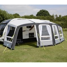 The Kampa Frontier Air Pro 300 is seven metres wide yet it only needs a horizontal rail of just over three metres. The maximum depth is an impressive three Accessories Store, Caravan, Outdoor Gear, Tent, Shop Fittings, Cabin Tent, Truck Camper, Tentsile Tent, Outdoor Tools