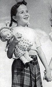 Little Miss Muffet Sweater knit pattern from Spinnerin Hand Knits for Youngsters, originally published 1944.