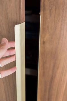 Marble Detail, Custom Brushed Brass Drawer Pull - Custom Credenza Wardrobe Interior Design, Wardrobe Design Bedroom, Home Interior Design, Wardrobe Door Handles, Cabinet Door Handles, Home Bar Rooms, Wardrobe Room, Joinery Details, Bedroom Cupboards