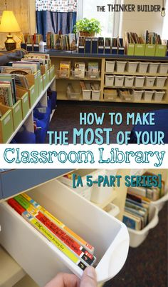 Geared towards older kids -- but some good tips! How To Make the Most of Your Classroom Library: A 5 Part Series. Tips and ideas to arrange, organize, stock, introduce, and keep your classroom library thriving all year long. From The Thinker Builder. 3rd Grade Classroom, Classroom Design, Kindergarten Classroom, Future Classroom, School Classroom, Classroom Decor, Classroom Libraries, Classroom Displays, Library Organization