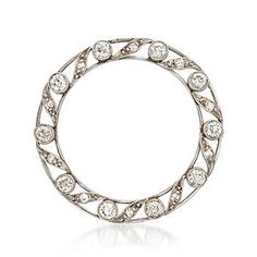 Ross-Simons - C. 1950 Vintage .95 ct. t.w. Diamond Open Circle Pin in Platinum and 14kt Gold - #887359